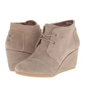Toms Taupe Suede Desert Wedges